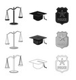 design of law and lawyer icon set of law vector image vector image