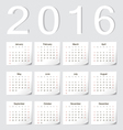 European 2016 calendar with shadow angles vector image vector image