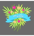 Exotic leaves bouquet with ribbon vector image