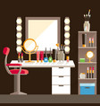 flat makeup workers workplace mirror decorative vector image