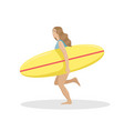 girl on a beach in a swimsuit running with a surf vector image vector image