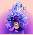 graphic man wearing virtual reality headset vector image vector image