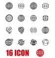 grey globe icon set vector image