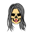 hand drawn girl skull with the vector image vector image