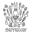 hand drawn rabbit wearing knitted sweater vector image vector image