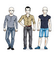 happy men standing in stylish casual clothes set vector image vector image