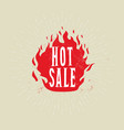 hot sale banner fire flame with sale vector image