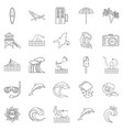 insular icons set outline style vector image vector image
