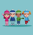 kids with winter clothes vector image vector image