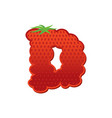 letter d strawberry font red berry lettering vector image vector image
