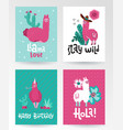 llama and alpaca greeting card collection cute vector image vector image