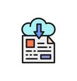 online file storage download flat color line icon vector image vector image