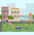 orange playground kindergarten city buildings vector image vector image