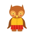 Owl In Yellow Top And Red Skirt Cute Toy Baby vector image vector image