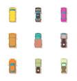 passenger car icons set cartoon style vector image
