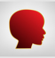 people head sign red icon on gold sticker vector image