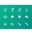 Phone icons on green background vector image vector image