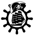 Pirate hat ships wheel and sailing ship vector image vector image