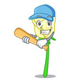 playing baseball white rose in the shape cartoon vector image vector image