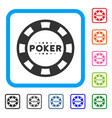 poker casino chip framed icon vector image