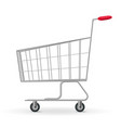 realistic detailed 3d metallic supermarket cart vector image vector image