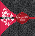 red and black damask invitation card vector image vector image