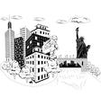 Santa Claus with urban skyline vector image