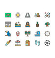 set brazilian culture flat color icons toucan vector image vector image