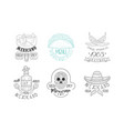 set of sketch emblems for mexican vector image