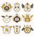 set of vintage elements heraldry labels stylized vector image
