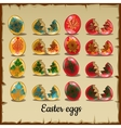 set solid and broken coloured easter eggs vector image vector image