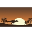 Silhouette of mapusaurus with tree scenery vector image vector image
