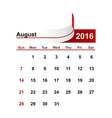 simple calendar 2016 year august month vector image vector image