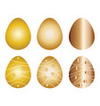 six easter eggs set in gold colors vector image