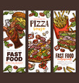 sketch fast food colorful vertical banners vector image vector image