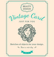 sketch woman face and text vector image vector image
