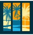 Summer style bookmarks with palm trees vector image vector image