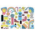 surreal sticker pack ancient culpture emoji vector image