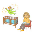 toddler jumps in the bed and mother is sad vector image vector image