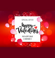 valentines day sale background with roses petals vector image vector image