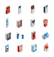 vending machines icons set vector image vector image