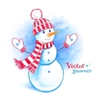 Watercolor cute snowman vector image vector image