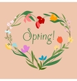 Spring floral heart with colorful flowers vector image