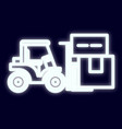 tractor loader with the effect of neon light neon vector image