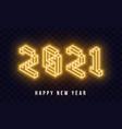 2021 happy new year isometric neon text 2021 new vector image