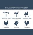 6 rooster icons vector image vector image