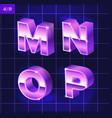 80 s retro alphabet font metallic effect type vector image vector image