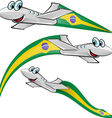 airoplane cartoon with brazil flag vector image