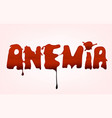 anemia blood spot lettering vector image vector image