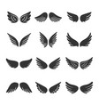 angels wings silhouettes set vector image